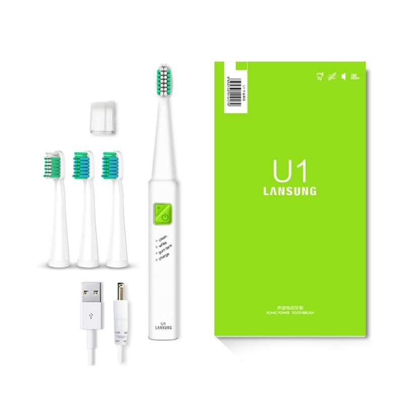 LANSUNG Ultra sonic Sonic cepillo de dientes eléctrico USB carga recargable cepillos de dientes con 4 Uds cabezas de repuesto cepillo temporizador