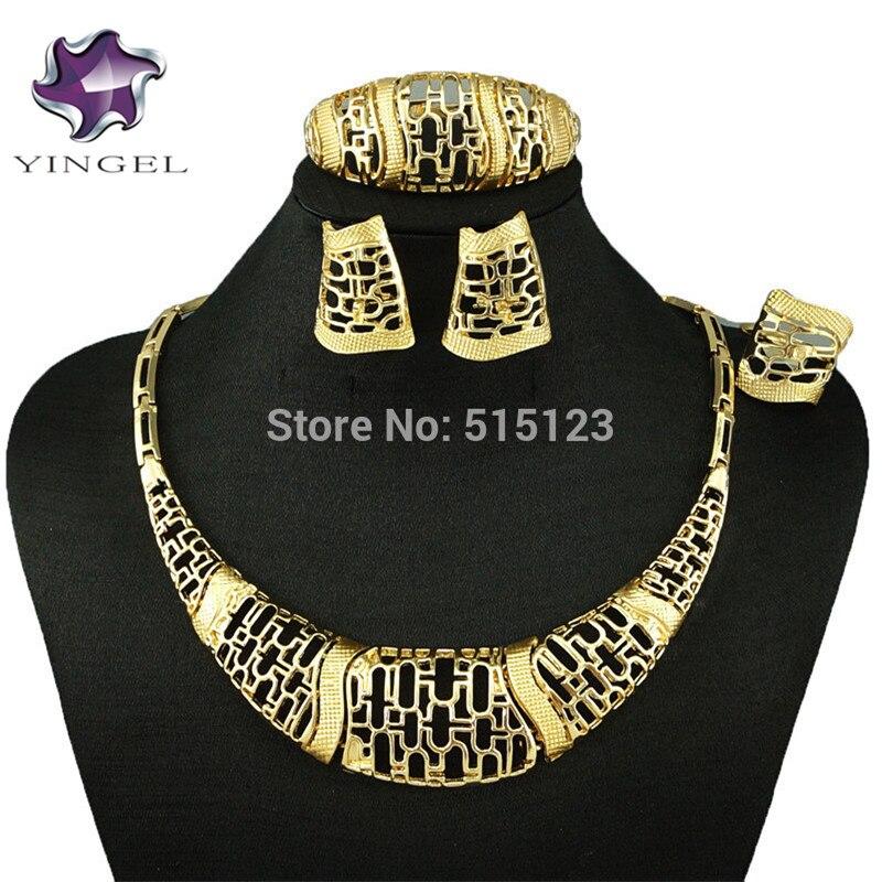 Wow, Модный комплект ювелирных изделий золотого цвета, Женский Большой комплект для свадьбы в африканском стиле, браслет, ожерелье, серьги, ко...