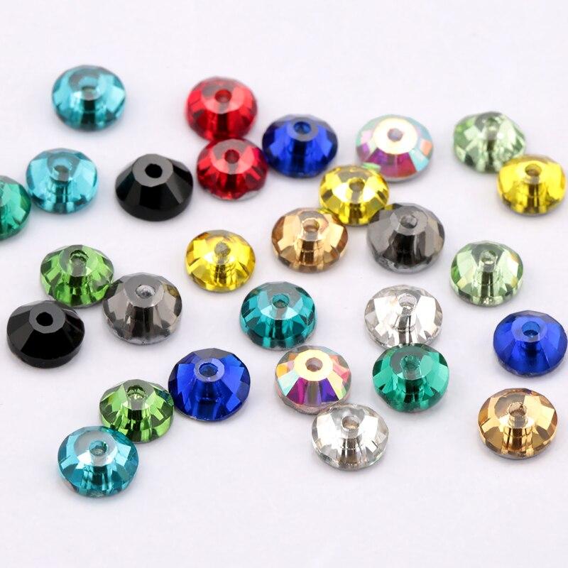 5 мм много цветов стекло материал 1440 шт круглые стразы кристалл 5 мм камень для пришивания плоской задней части 1 отверстие украшения одежды аксессуары