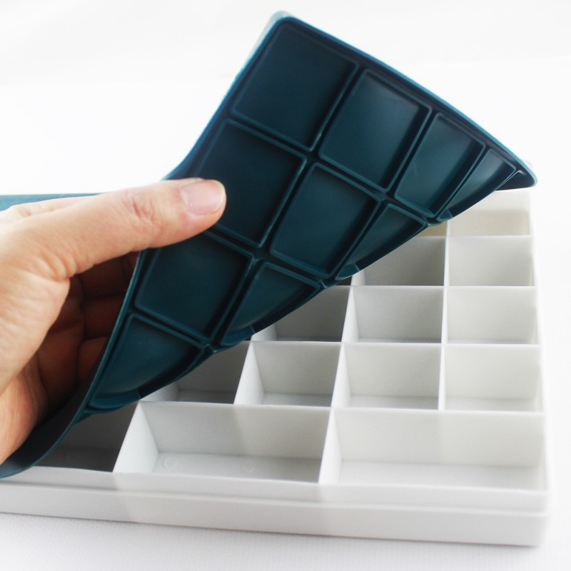 48 caja de plástico de rejilla suministros de escuela de pintura paleta de goate acuarela materiales de arte de paleta