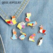 QIHE bijoux 9 pièces/ensemble Origami Animal épinglette émail épingles éléphant lapin lapin ours écureuil baleine poisson pingouin renard Design
