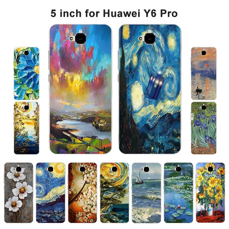 Funda suave para Huawei Y6 Pro / Honor Play 5X / Enjoy 5 / Holly 2 Plus de silicona pintada al óleo para Huawei Honor 4C pro