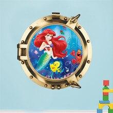 Autocollants muraux 3D sirène poisson sous-marin   Étiquette murale, pour chambres denfants, pour salle de bain, bulle réfrigérateur, affiche murale