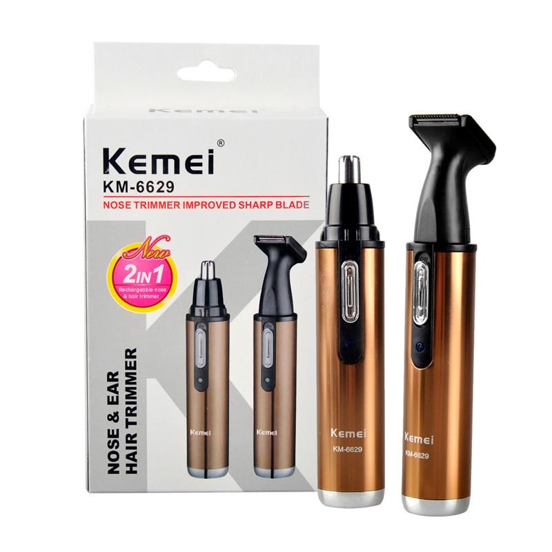 Afeitado eléctrico Kemei KM-6629 de moda 2 en 1 recortador de pelo de nariz cuidado de la cara seguro afeitador para la nariz Trimmer para hombre y mujer