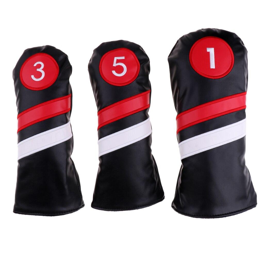 Golf Club #1 #3 #5 cubiertas de madera conductor/Woods Fairway Rescue/híbrido de cuero PU cubiertas de cabeza Set Protector