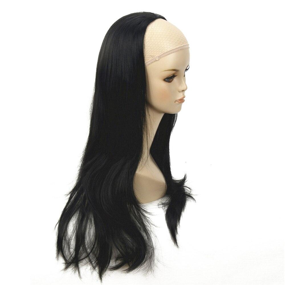 Strongbeauty feminino metade peruca preto longo ondulado sintético 3/4 perucas