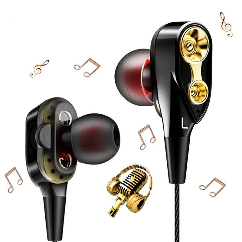 Auriculares de música potentes graves 4D estéreo HIFI controlador dual deporte en oído auricular 3,5mm auriculares con cable auriculares con micrófono HIFI