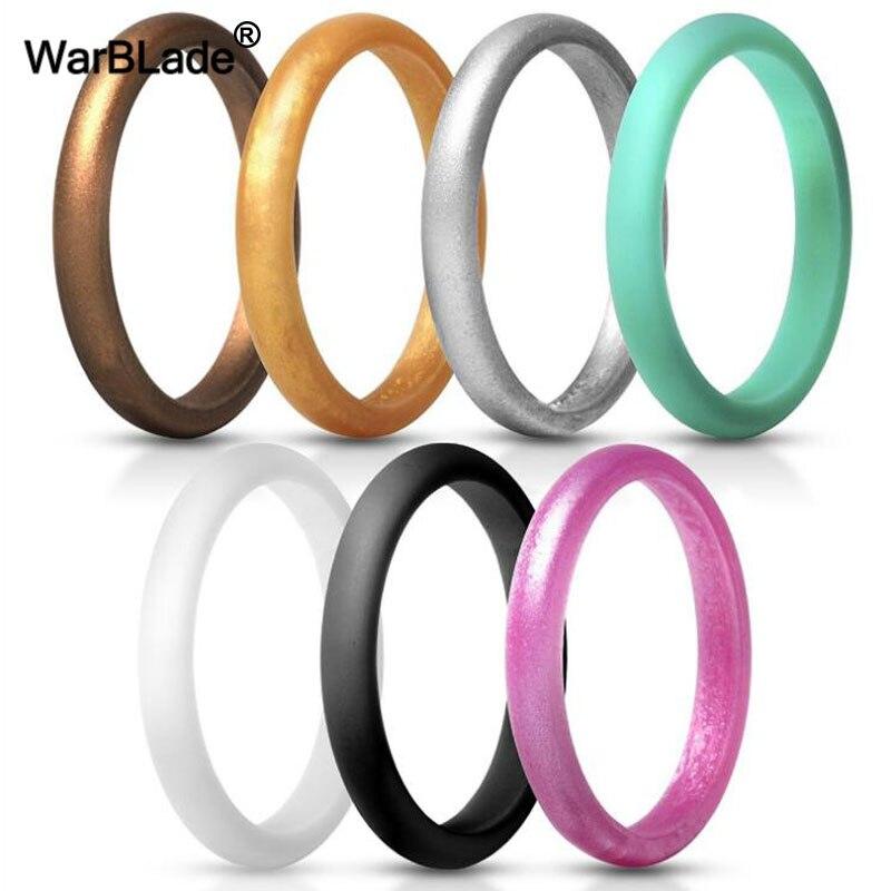 Bagues de mariage souples en Silicone pour femmes, anneaux hypoallergéniques, taille 5.7mm 2.7mm, qualité alimentaire FDA, en caoutchouc, 7 pièces
