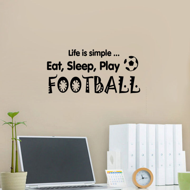Wall Decal Sport Quote Stickers Eat Sleep Play Football Words Vinyl Art Design DIY Kids Bedroom Living Room Decoration WW-167