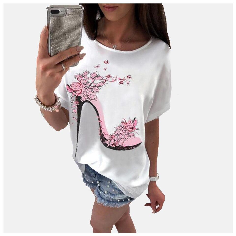 Harajuku zapatos de tacón alto de gran tamaño con estampado de flores camiseta Vetement Femme 2019 Xxxl mujeres Ulzzang Kawaii de talla grande camisa de moda