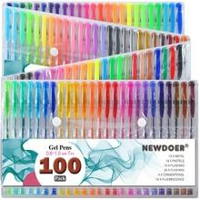 100 stylos de couleur Gel/Set avec étui pliable pour adultes livres de coloriage, dessin paillettes, néon, Symhony, laiteux et métallique