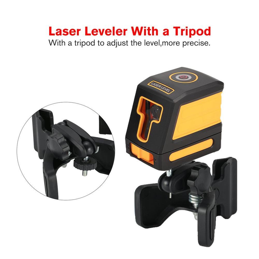 T01 línea láser nivelador nivel Vertical horizonte Cruz Mini rojo auto-nivelado de mano medición Horizontal 630-670nm con trípode