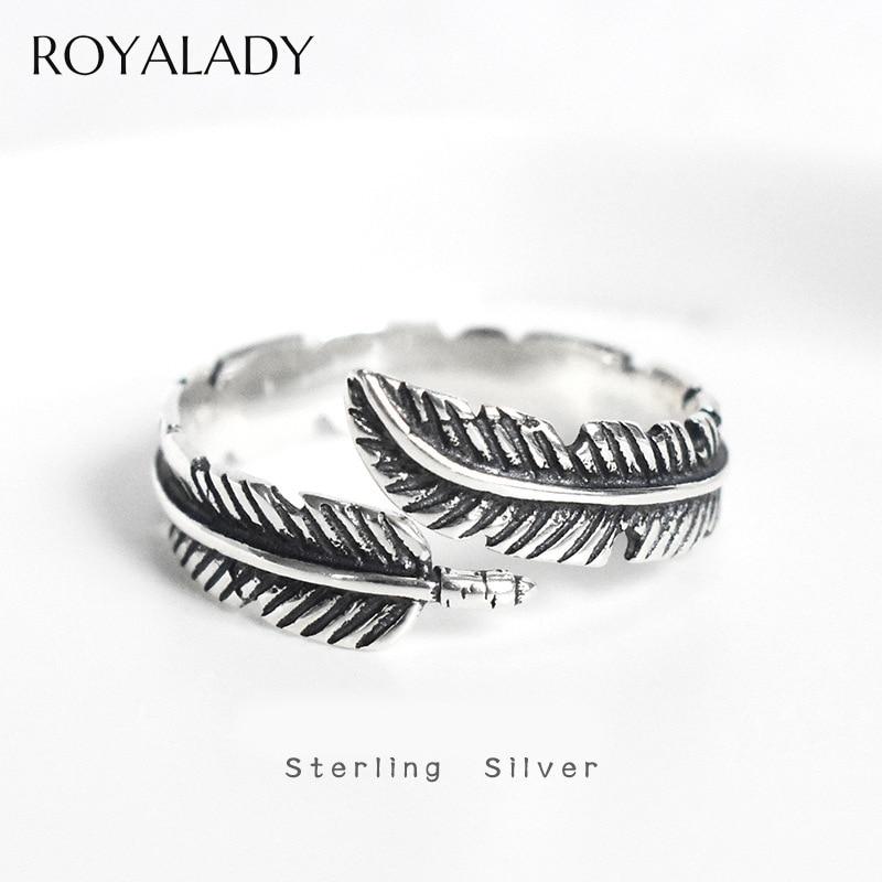 Anillo de plata S925 de pluma con personalidad Vintage para mujer y hombre, diseño de moda, declaración ajustable, anillo para amante femenino, el mejor regalo