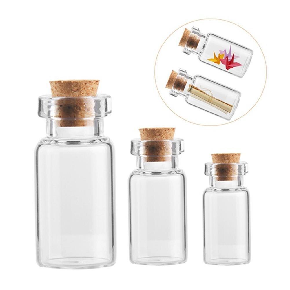 Small Bottle Glass Jars 1PC Decoration DIY Containers Mini Cheap Message Vials Ornaments Cork Stopper Hot Sale Mason Jar