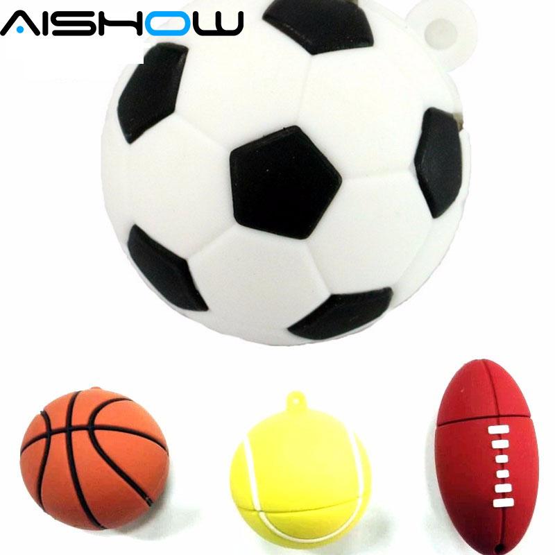 Futebol Pendrive USB Vara 64 GB 8 GB 16 GB 32 GB do basquetebol Dos Desenhos Animados modelo USB 2.0 Flash Memory Pen Drive 100% da Capacidade Total