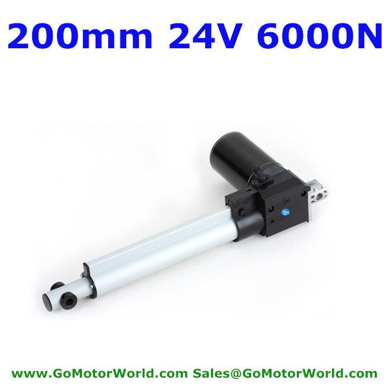 200mm carrera 6000N 600KG 1320LBS fuerza de carga 42 mm/s velocidad 12V 24VDC actuador lineal de alta resistencia