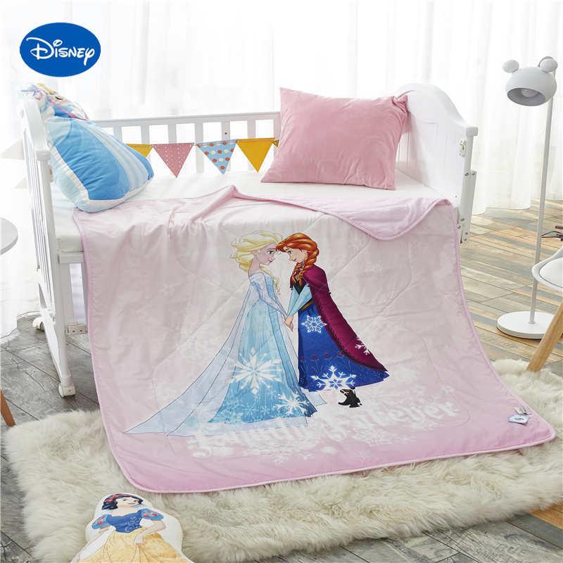 لحاف صيفي بطبعة إلسا وآنا وردي فروزن ، لحاف صيفي 100% قطن ، سرير أطفال 120 × 150 سنتيمتر ، ديكور سرير للبنات