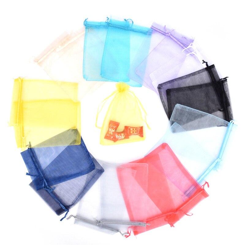 2021 Лидер продаж 50 шт./упак. 7x9 8x10 10x12 см сумки из органзы для ювелирных изделий свадебных подарков и сумок красочные упаковочные мешки