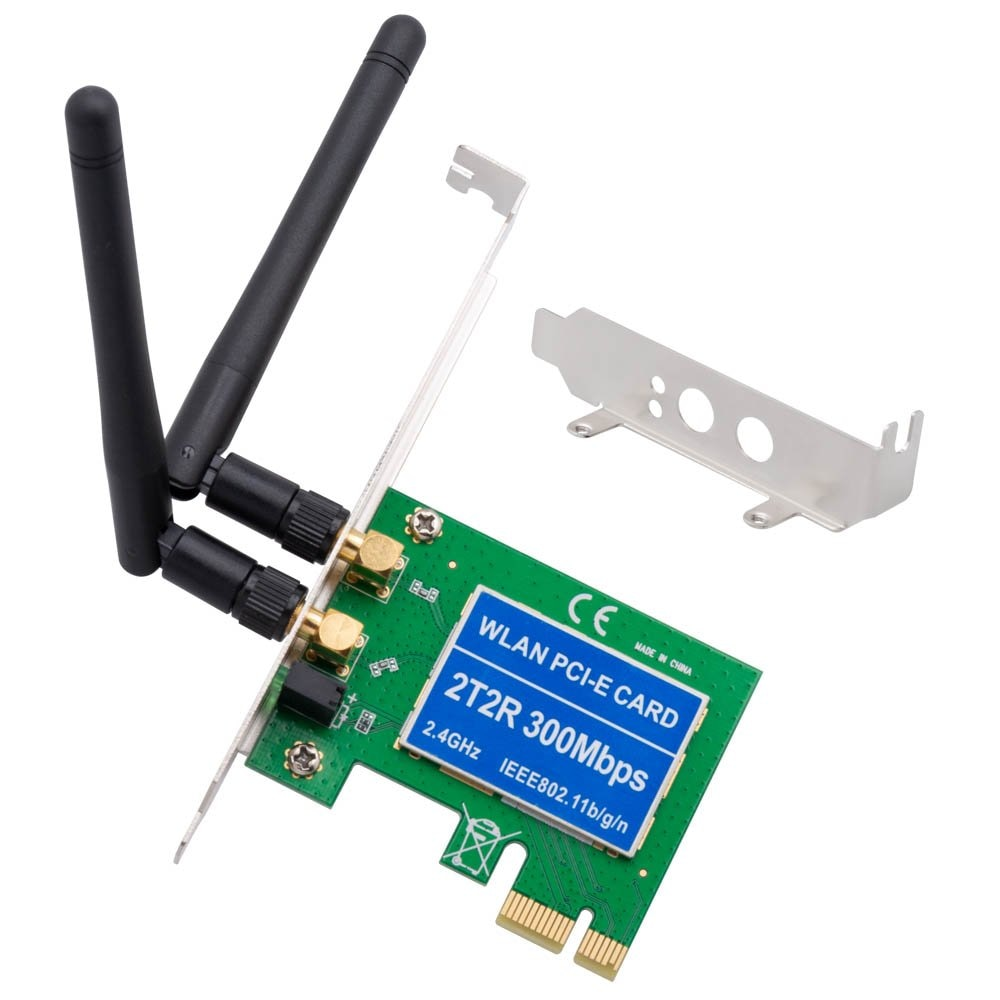 Pcie sem fio 300mbps pcie placa de rede expressa pci placa de rede interna para desktop 2.4 ghz antena dupla 2t2r pci-e wlan cartão