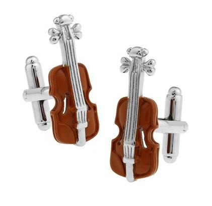 Gemelos de violín para hombre, Material de cobre, Color café