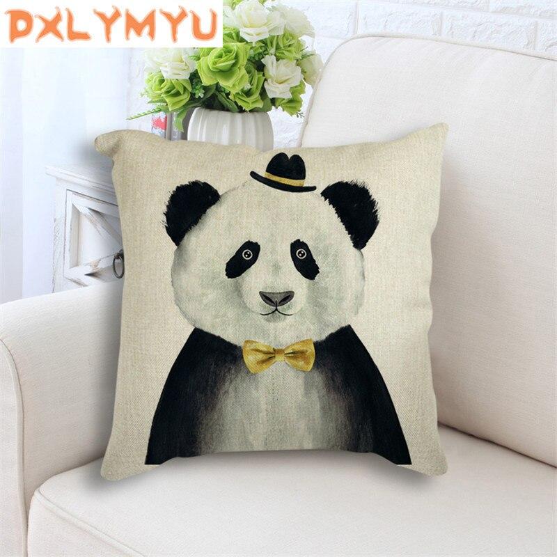 Cojines de lino con dibujos de animales, oso, León, Panda, decoración nórdica minimalista, cojín para sofá, almohada moderna, decoración del hogar