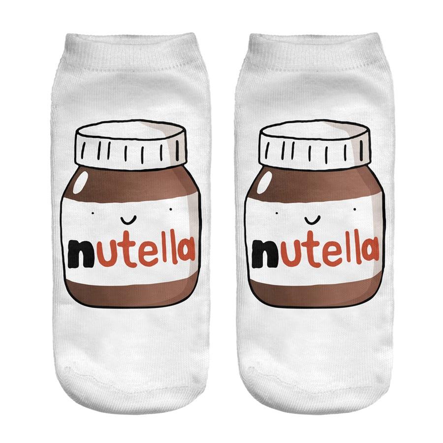 Nutella, blanco, estampado 3D, para mujer, dibujos animados, chaussette, bonitos calcetines Coreanos