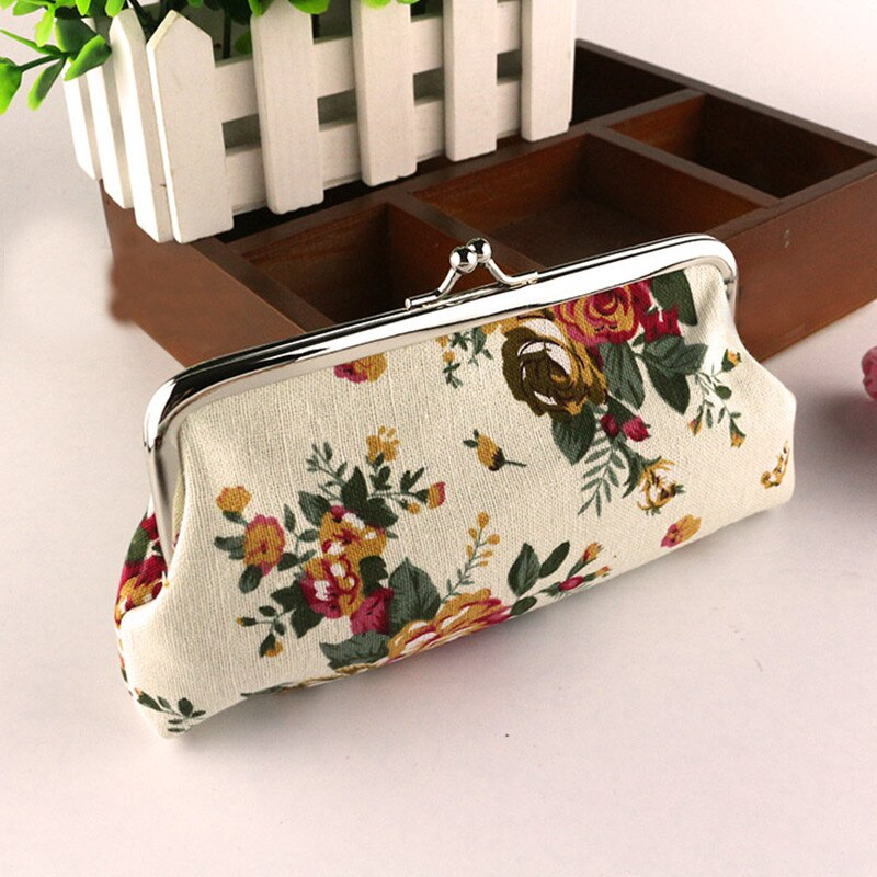 New Korean Garden canvas Coin Change Key Purse Handbag Bag wallet women clutch casual floral Rose print Vintage Retro Bags