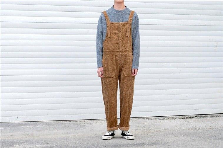Мужской вельветовый комбинезон в стиле ретро, комбинезон на подтяжках, брюки с широкими штанинами