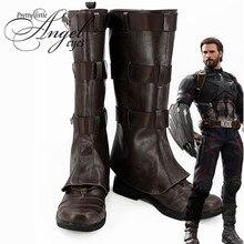Marvel Super Hero Avengers: Infinity War Steven Rogers Captain America Cosplay Party Shoes Custom Made