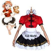 Love Live Sunshine Takami Chika Cheongsam Maid Apron Dress Uniform Outfit Anime Cosplay Costumes