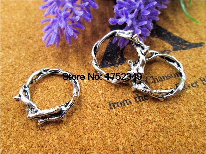 30 Uds -- colgantes de corona de espinas, anillo de espinas, anillo de plata antigua, colgantes de anillo de Rama, encantos, accesorio de regalo 23 mm