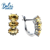 bolaijewelrynatural citrine oval 57mm 4 4ct gemstone clasp earring 925 sterling silver fine jewelry women christmas gift box