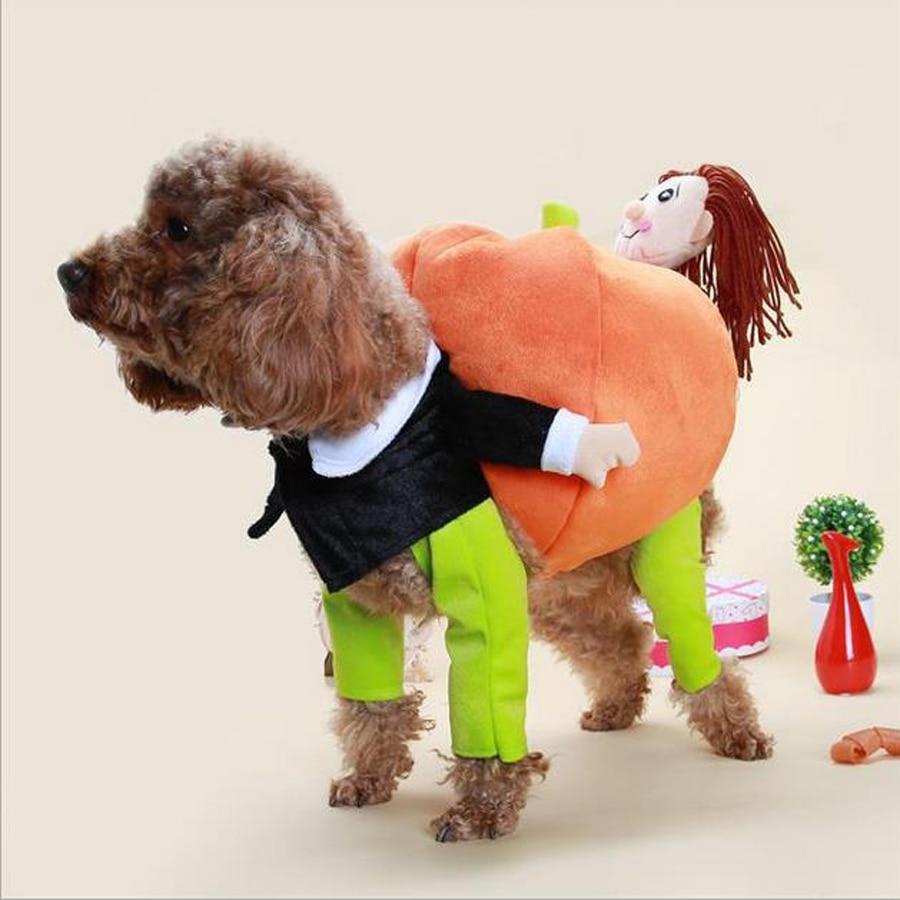Gran oferta de disfraces divertidos de calabaza para perros, abrigo de lana para mascotas, ropa cálida para Halloween, vestido de perro divertido, vestido bonito para perros pequeños de 5 tamaños