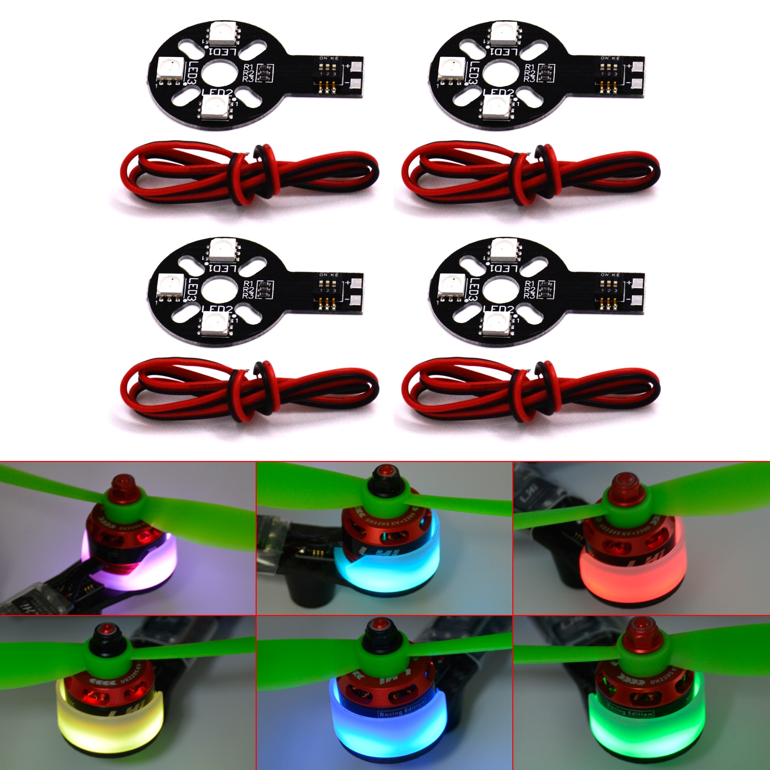 RGB LED Circle Board X6/12V Night lights & Motor cover for QAV250 FPV Multicopter enlarge