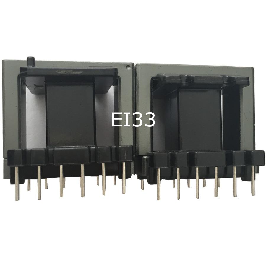 Muestra EI33 transformador de potencia núcleo de ferrita con 6 + 6pin aislante inductor ferrita RF choke ferrita grano MnZn PC40, 5 set/lote