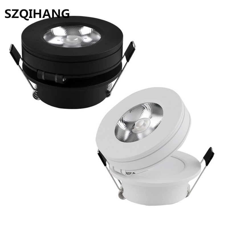 Free Shipping High Brightness Embedded Dimmable COB LED Ceiling Lights Fixtures, Aluminum Adjustable Spot Light,
