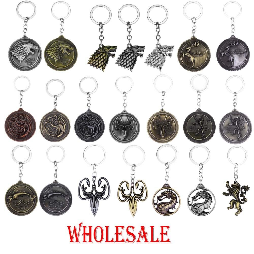 20 шт./лот, оптовая продажа, хит продаж, брелок для ключей со значком «голова Престолов», брелок для ключей со значком «голова волка» для мужчи...