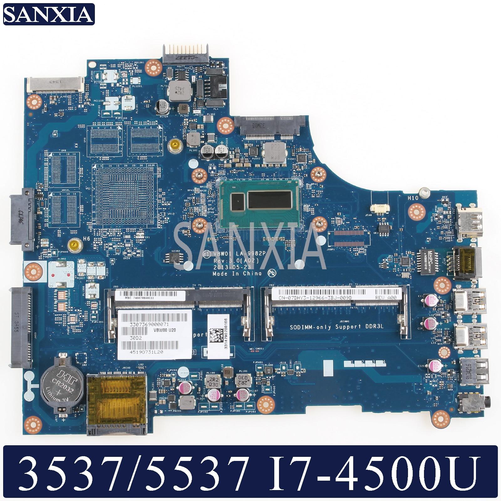 KEFU LA-9982P Laptop motherboard for Dell Inspiron 15R 5537 3537 original mainboard I7-4500U CPU GM