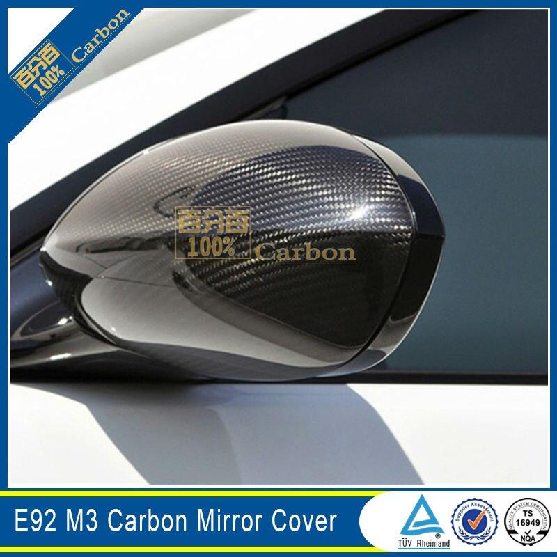 E92 m3 نمط الكربون الألياف غطاء مرآة لسيارات bmw e92 m3 نمط الجانب مرآة يغطي استبدال