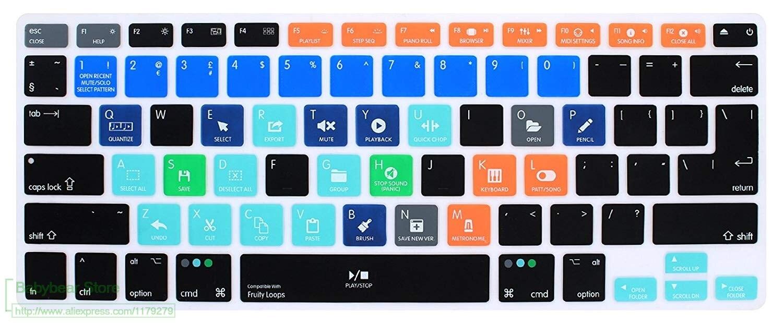 Силиконовый чехол для клавиатуры Fl Studio Fruity Loops Hotkey для старого Macbook Pro 13 15 Euro Eu Us для Macbook Air 13,3