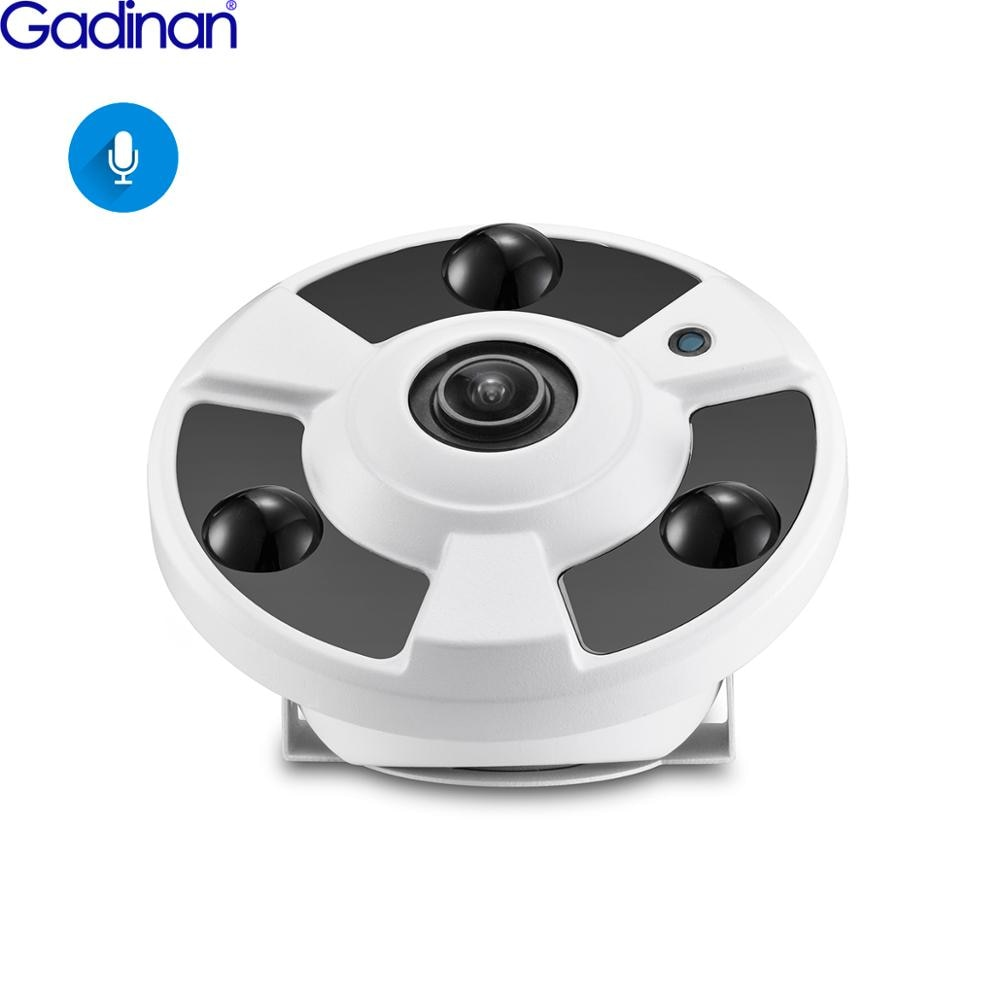 Gadinan h.265 câmera ip áudio mic 1.7mm fisheye lente 5mp 4mp 2mp panorâmica onvif vigilância ao ar livre xmeye poderia dc12v/poe 48 v