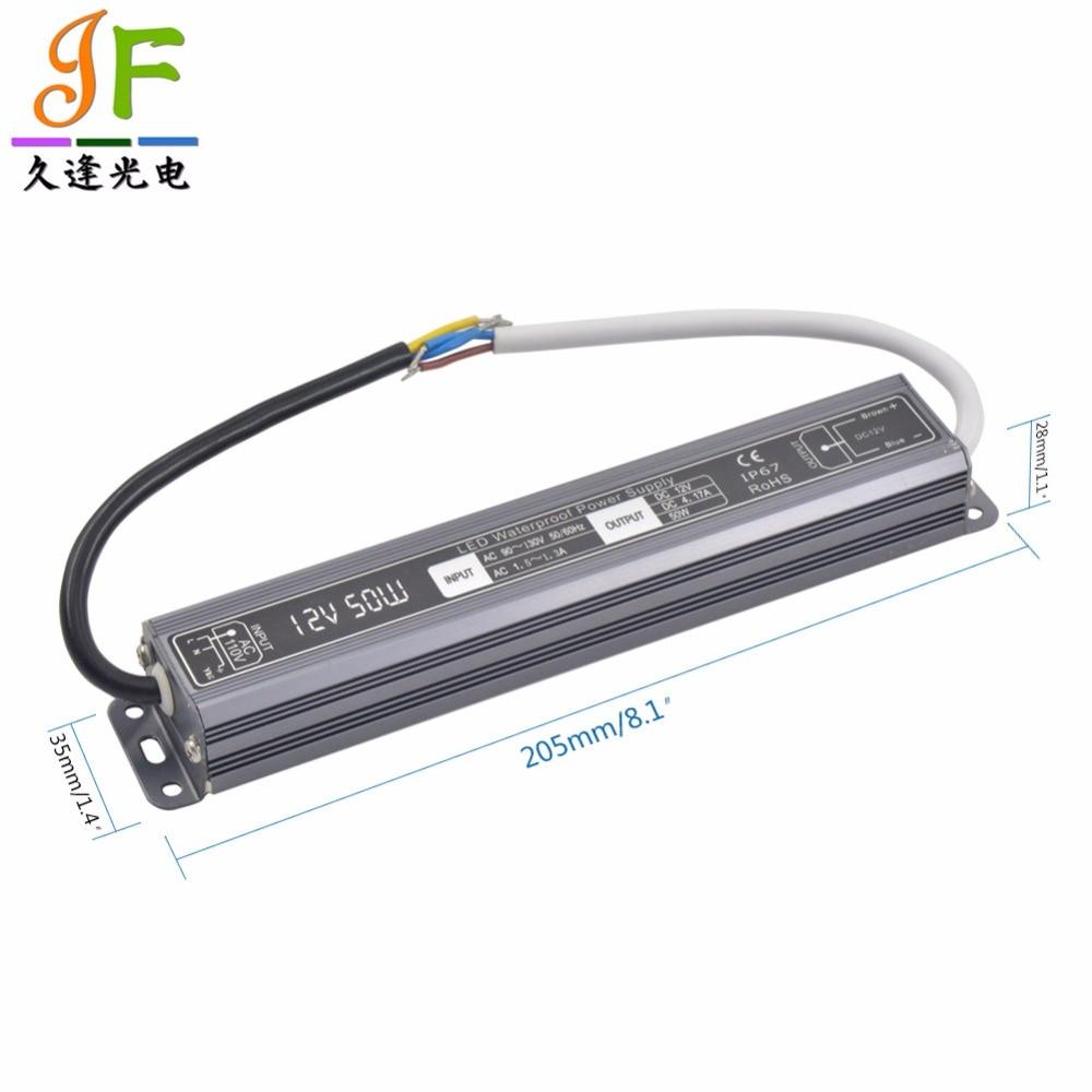 AC90 ~ 130 V/170 ~ 250 V a DC12V 50 W 4.17A 50 vatios IP67 impermeable LED conductor transformador de fuente de alimentación carcasa negra