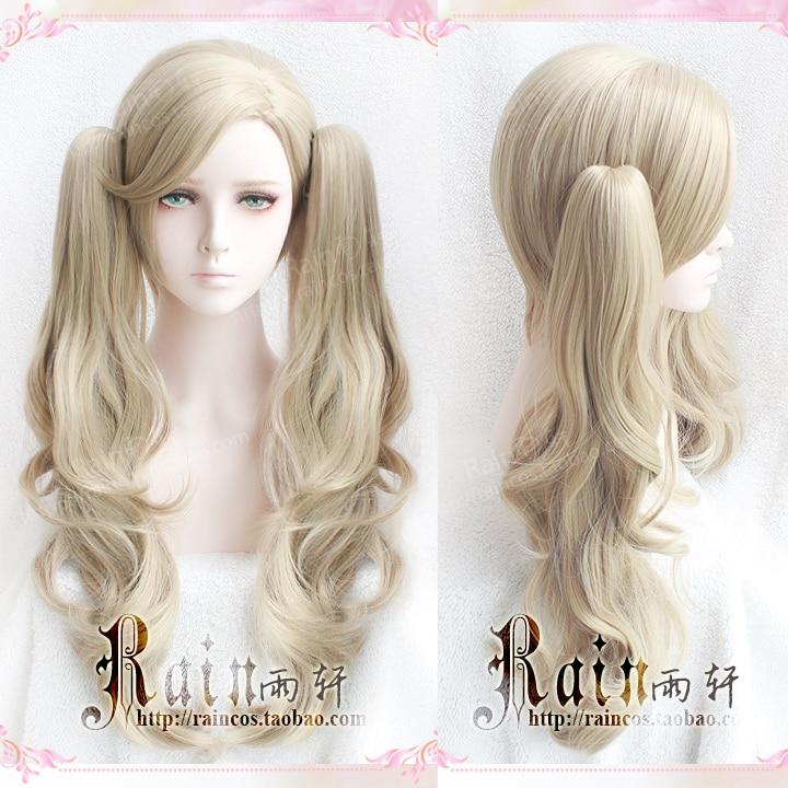 Длинные вьющиеся льняные волосы P5 Persona 5 Anne Takamaki, с 2 клипсами на хвостиках, термостойкий костюм для косплея, парик