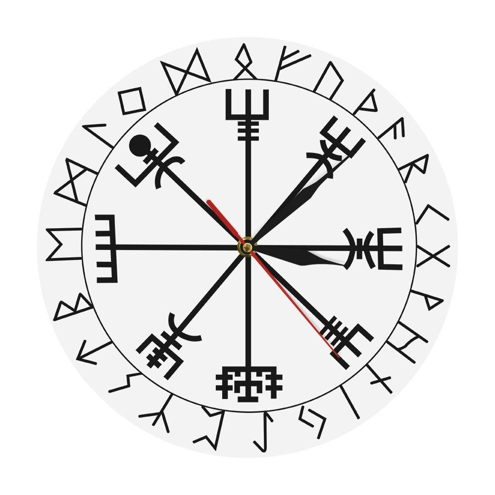 Reloj de pared vikingo pagano Asatru brújula rúnico Vegvisir círculo Rune vikingo nórdico mitología Simple reloj moderno TIMÓN DE Awe