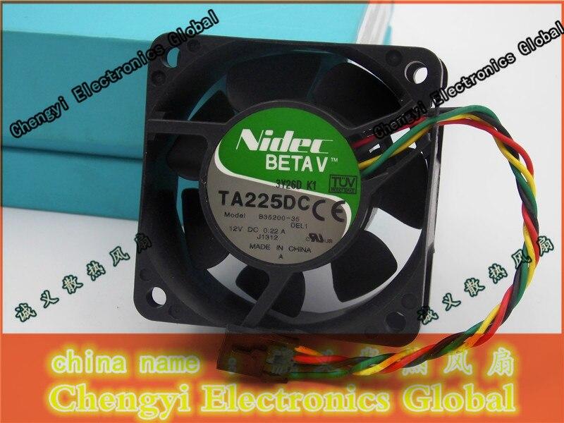 Nidec ta225dc b35200-35 12 v 0.22a 6 cm 6025 bolas doble ventilador de refrigeración 60*60*25mm