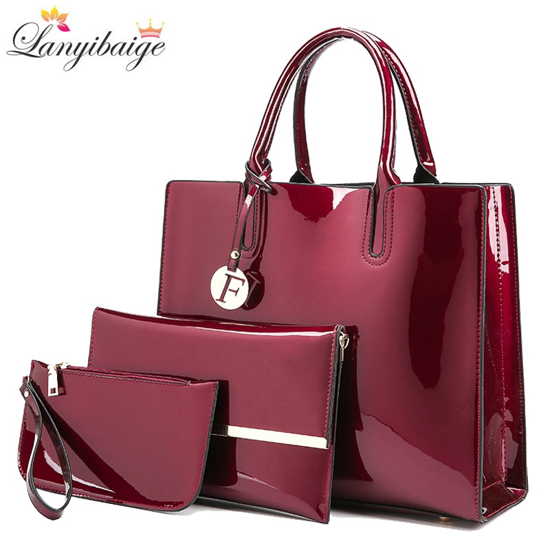 Brand 3 Sets Women Handbags High Quality Patent Leather Female Messenger Bag Luxury Tote+Ladies Shoulder Crossbody Bag+Clutch