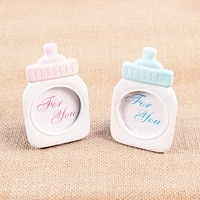 new creativity mini photo frame pinkblue baby bottle gold feature photo frame for birthday kids party baby shower diy decor