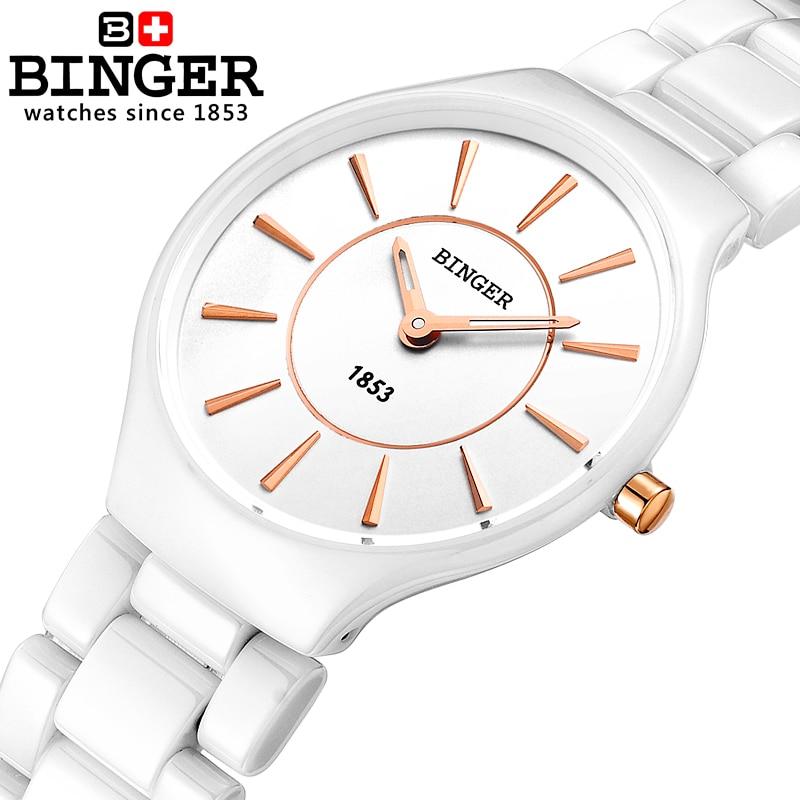 Amantes da Moda Relógios de Pulso Resistência à Água Suíça Binger Cerâmica Quartzo Relógios Femininos Estilo Luxo Marca 300 m B8006-5
