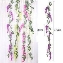 170cm Artificial liana Silk Wisteria Flowers Vines Rattan Bride flower Wall Hanging Garland Arch Home Wedding Garden Decorations