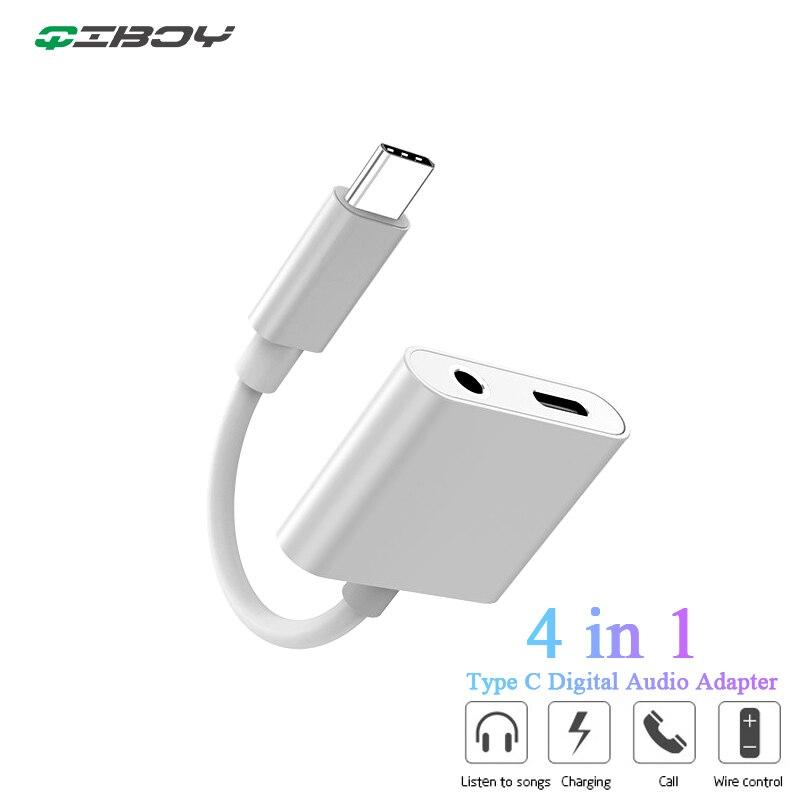 Cargador USB tipo C A Adaptador de Audio auxiliar Jack de 3,5mm para auriculares Samsung Huawei Xiaomi Mi9 tipo C llamada de soporte del divisor del cargador